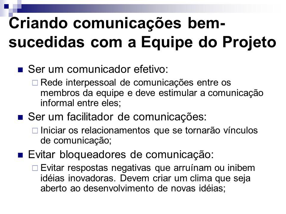 Criando comunicações bem- sucedidas com a Equipe do Projeto Ser um comunicador efetivo: Rede interpessoal de comunicações entre os membros da equipe e