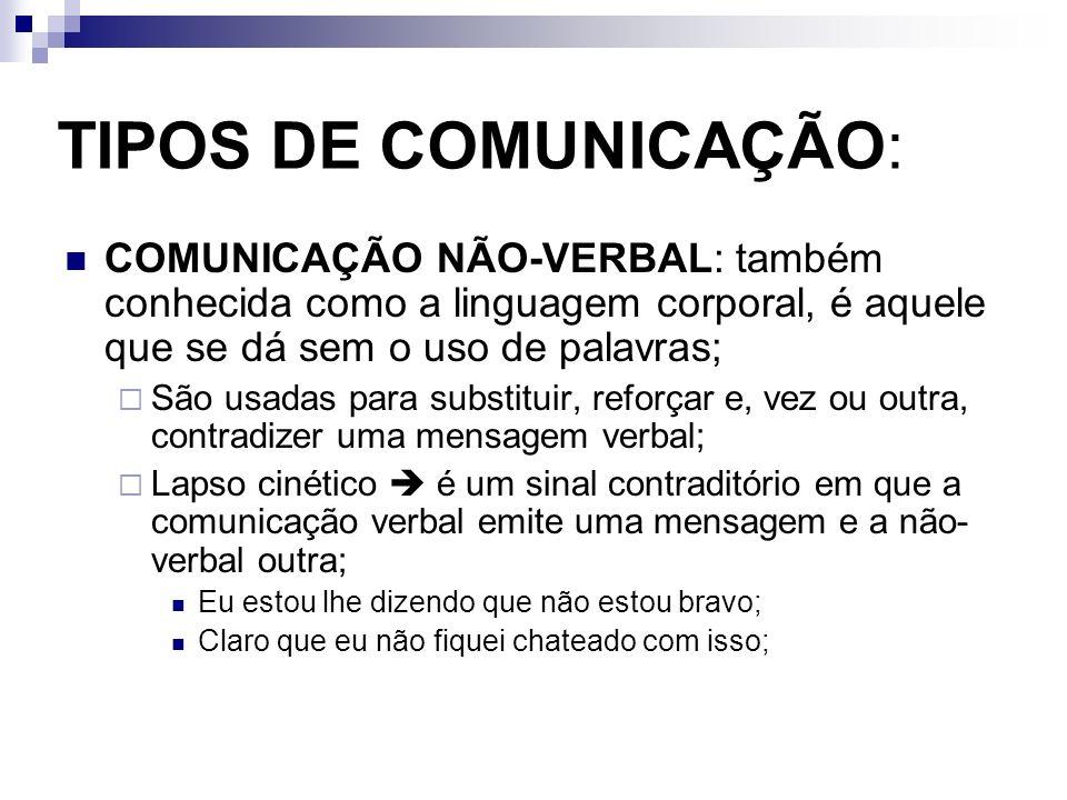 TIPOS DE COMUNICAÇÃO: COMUNICAÇÃO NÃO-VERBAL: também conhecida como a linguagem corporal, é aquele que se dá sem o uso de palavras; São usadas para su