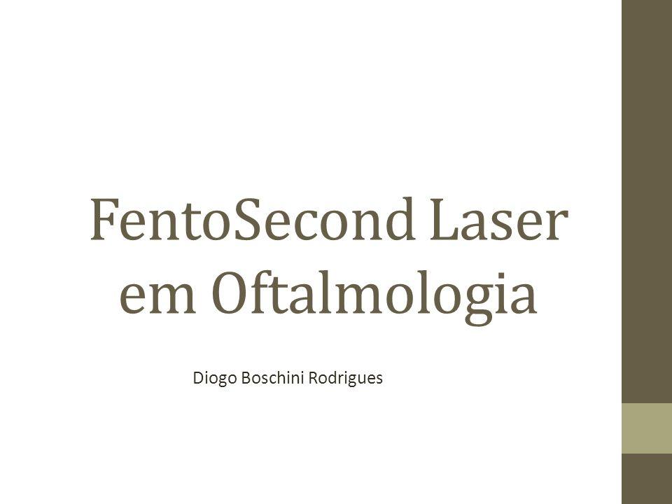 Laser em Oftamologia Infravermelho Yag laser (nanosegundos): A zona de lesão pode ultrapassar 100µm Fentosegundo: pulso de ultra curta duração