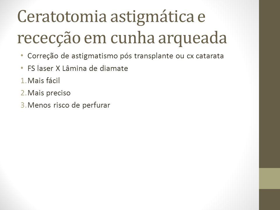 Ceratotomia astigmática e rececção em cunha arqueada Correção de astigmatismo pós transplante ou cx catarata FS laser X Lâmina de diamate 1.Mais fácil
