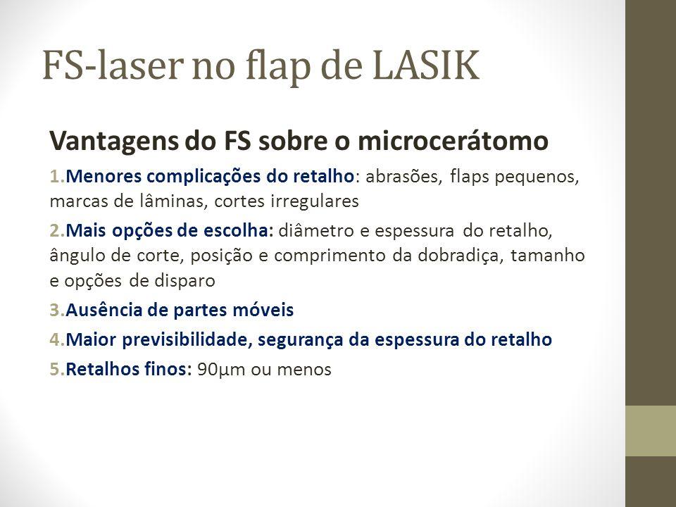 FS-laser no flap de LASIK Vantagens do FS sobre o microcerátomo 1.Menores complicações do retalho: abrasões, flaps pequenos, marcas de lâminas, cortes