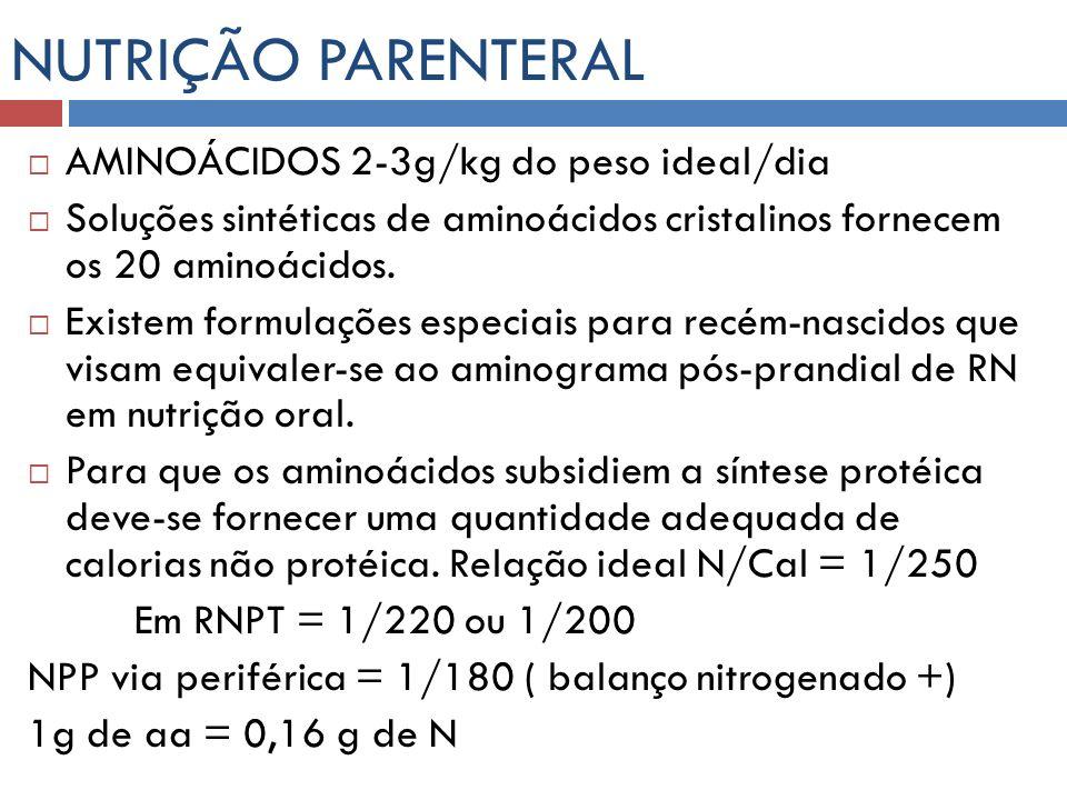 NUTRIÇÃO PARENTERAL AMINOÁCIDOS 2-3g/kg do peso ideal/dia Soluções sintéticas de aminoácidos cristalinos fornecem os 20 aminoácidos. Existem formulaçõ