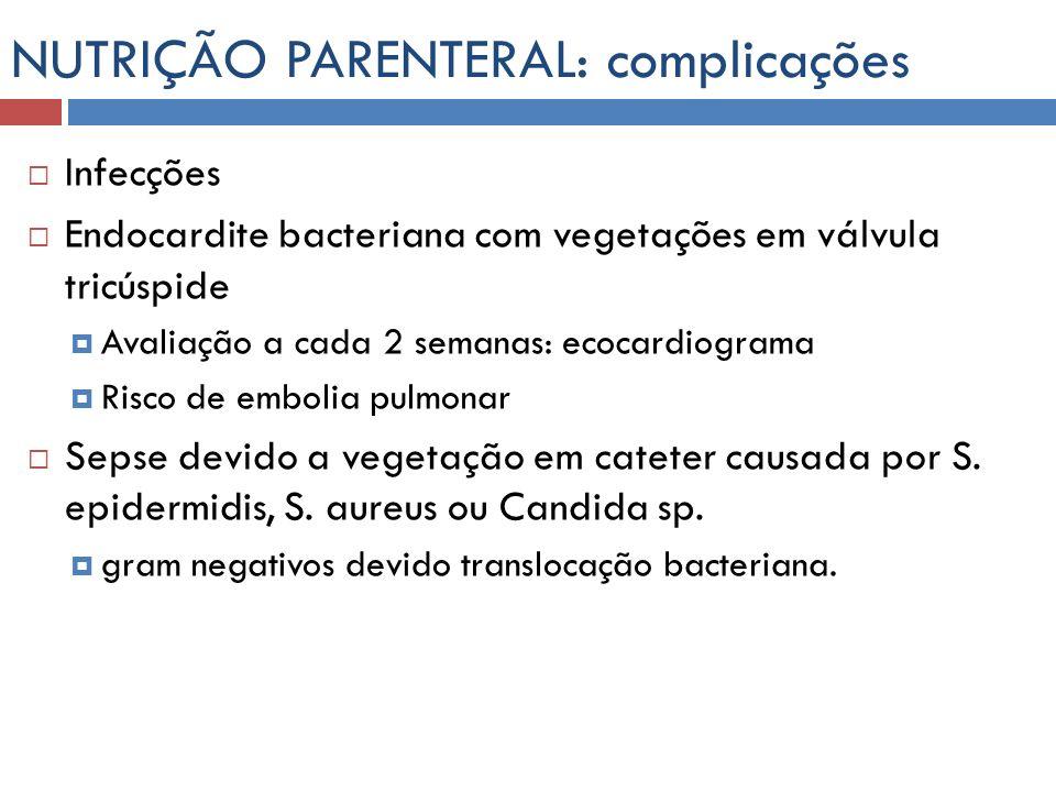 NUTRIÇÃO PARENTERAL: complicações Infecções Endocardite bacteriana com vegetações em válvula tricúspide Avaliação a cada 2 semanas: ecocardiograma Ris
