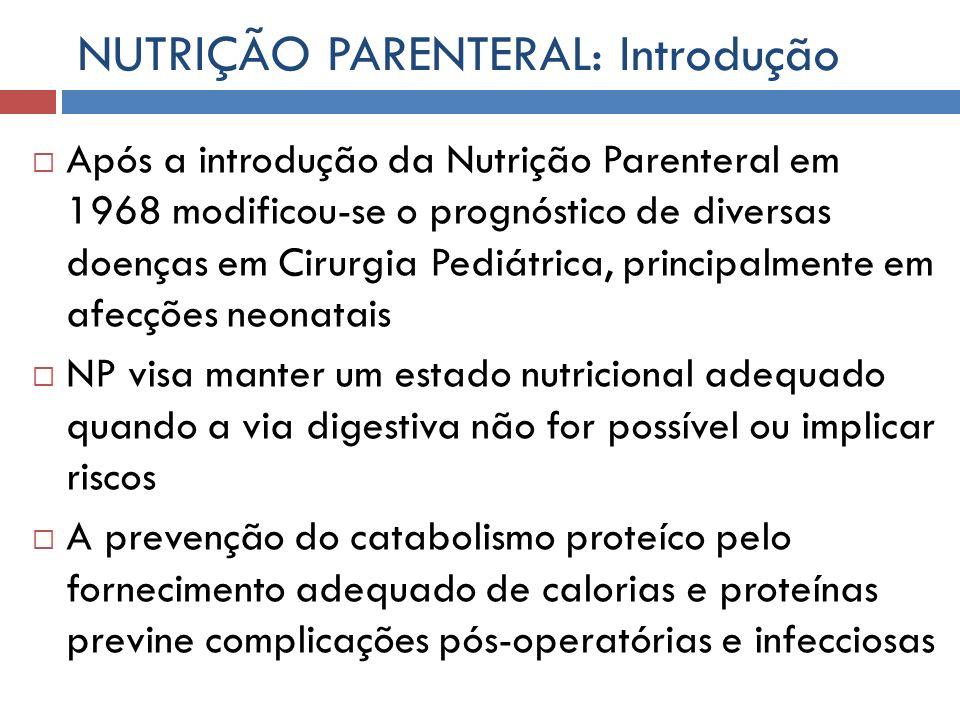NUTRIÇÃO PARENTERAL: Introdução Após a introdução da Nutrição Parenteral em 1968 modificou-se o prognóstico de diversas doenças em Cirurgia Pediátrica