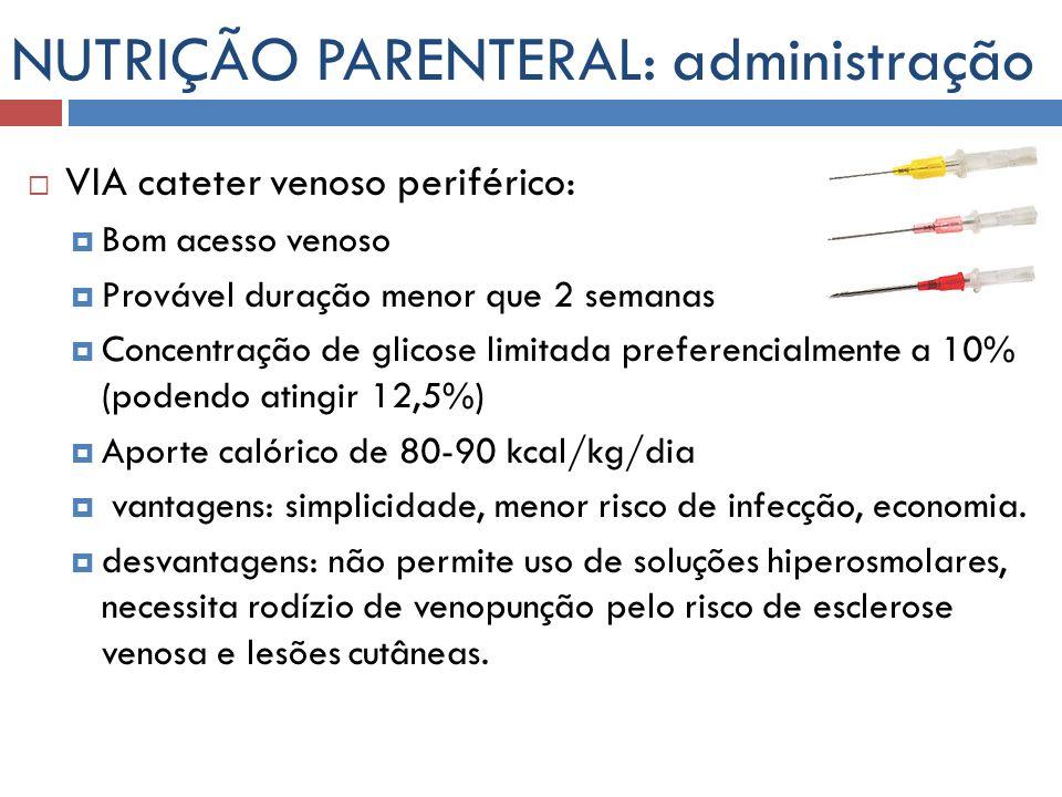 NUTRIÇÃO PARENTERAL: administração VIA cateter venoso periférico: Bom acesso venoso Provável duração menor que 2 semanas Concentração de glicose limit