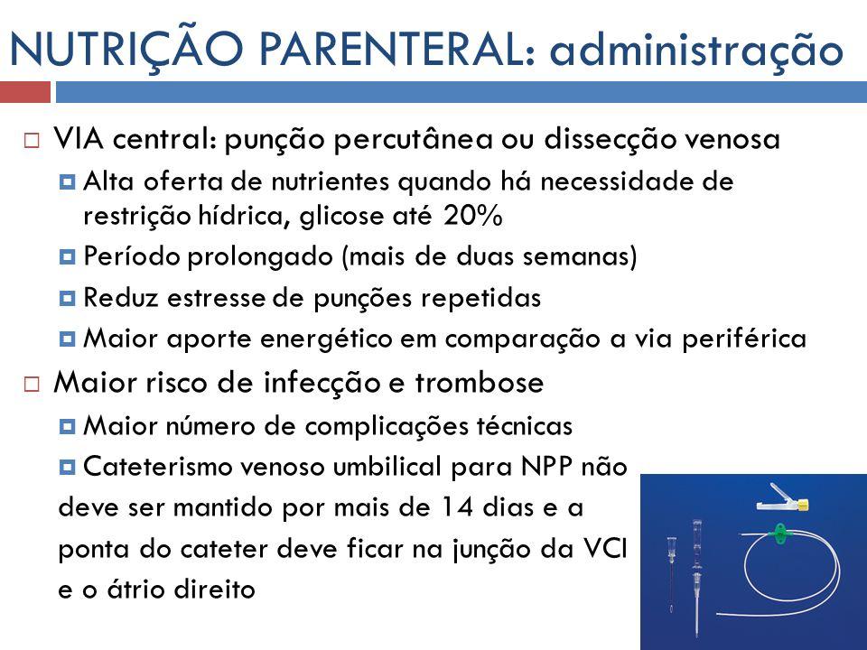 NUTRIÇÃO PARENTERAL: administração VIA central: punção percutânea ou dissecção venosa Alta oferta de nutrientes quando há necessidade de restrição híd