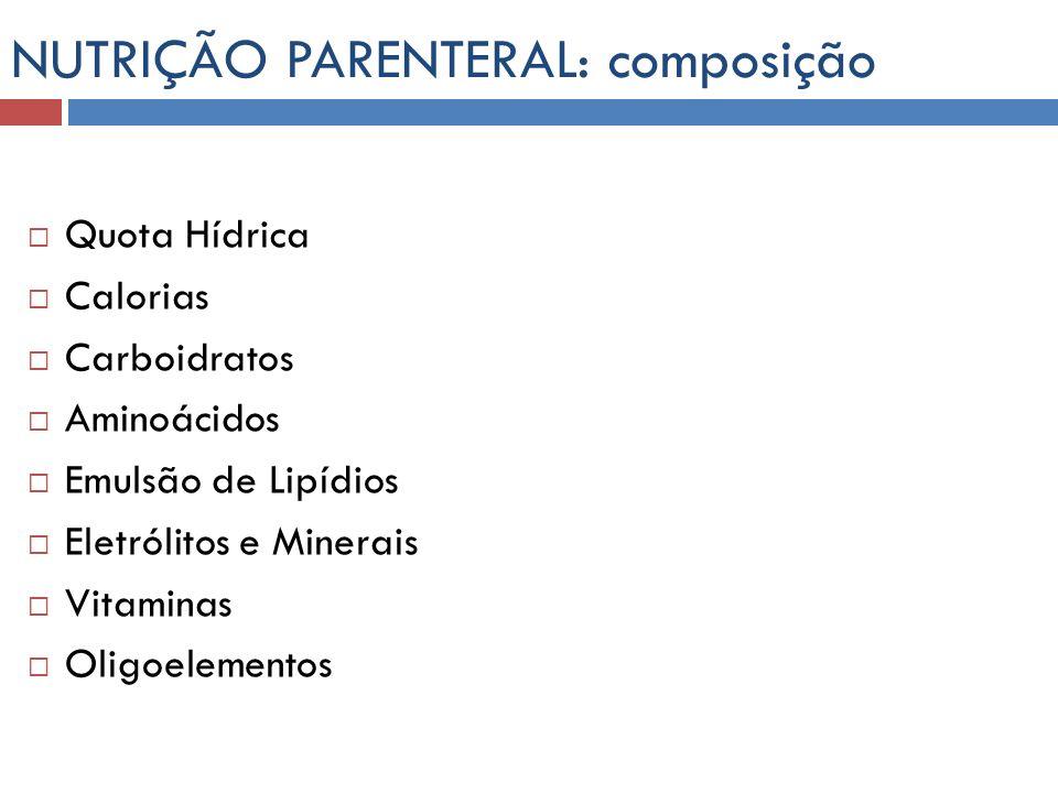 NUTRIÇÃO PARENTERAL Necessidades Hídricas variam com idade, peso e situação clínica.