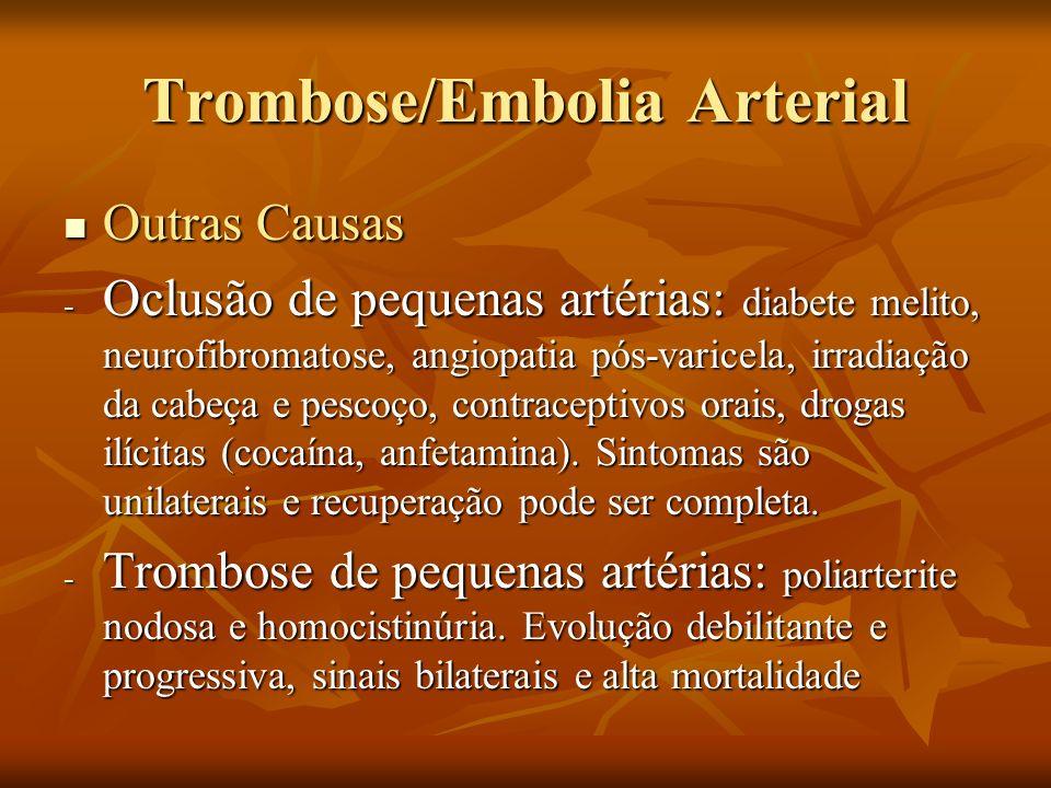 Trombose/Embolia Arterial Outras Causas Outras Causas - Oclusão de pequenas artérias: diabete melito, neurofibromatose, angiopatia pós-varicela, irrad