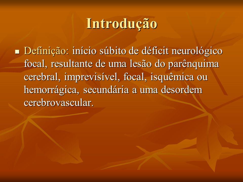 Introdução AVE isquêmico: início súbito de déficit neurológico central, superior a 24 horas, associado a TC, RNM ou autópsia evidenciando alterações consistentes com infarto cerebral ou normais.