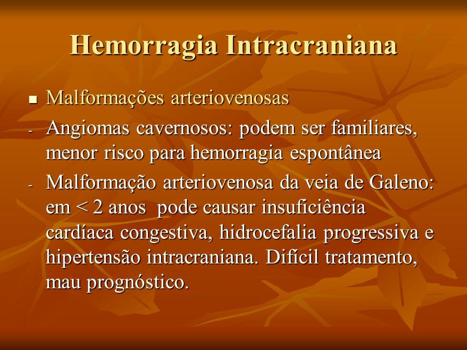 Hemorragia Intracraniana Malformações arteriovenosas Malformações arteriovenosas - Angiomas cavernosos: podem ser familiares, menor risco para hemorra