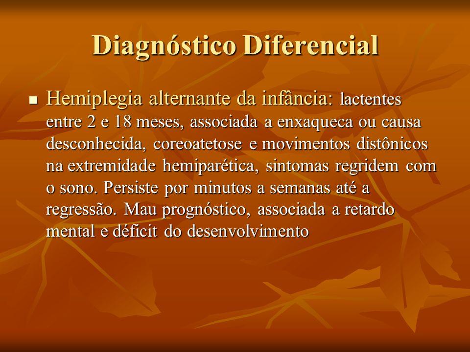 Diagnóstico Diferencial Hemiplegia alternante da infância: lactentes entre 2 e 18 meses, associada a enxaqueca ou causa desconhecida, coreoatetose e m