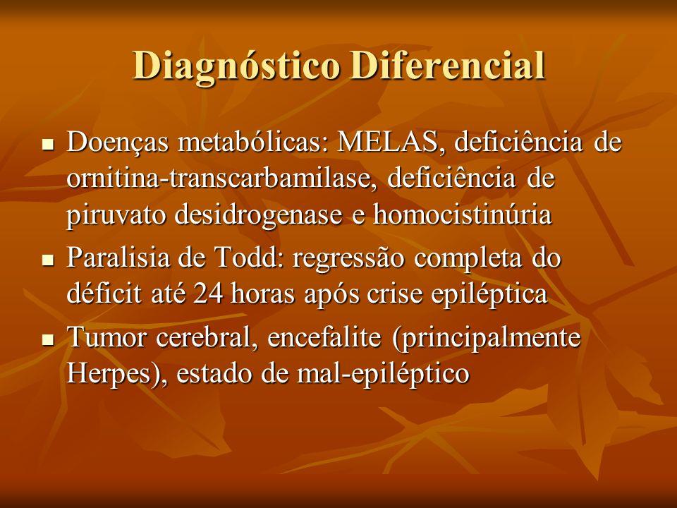 Diagnóstico Diferencial Doenças metabólicas: MELAS, deficiência de ornitina-transcarbamilase, deficiência de piruvato desidrogenase e homocistinúria D