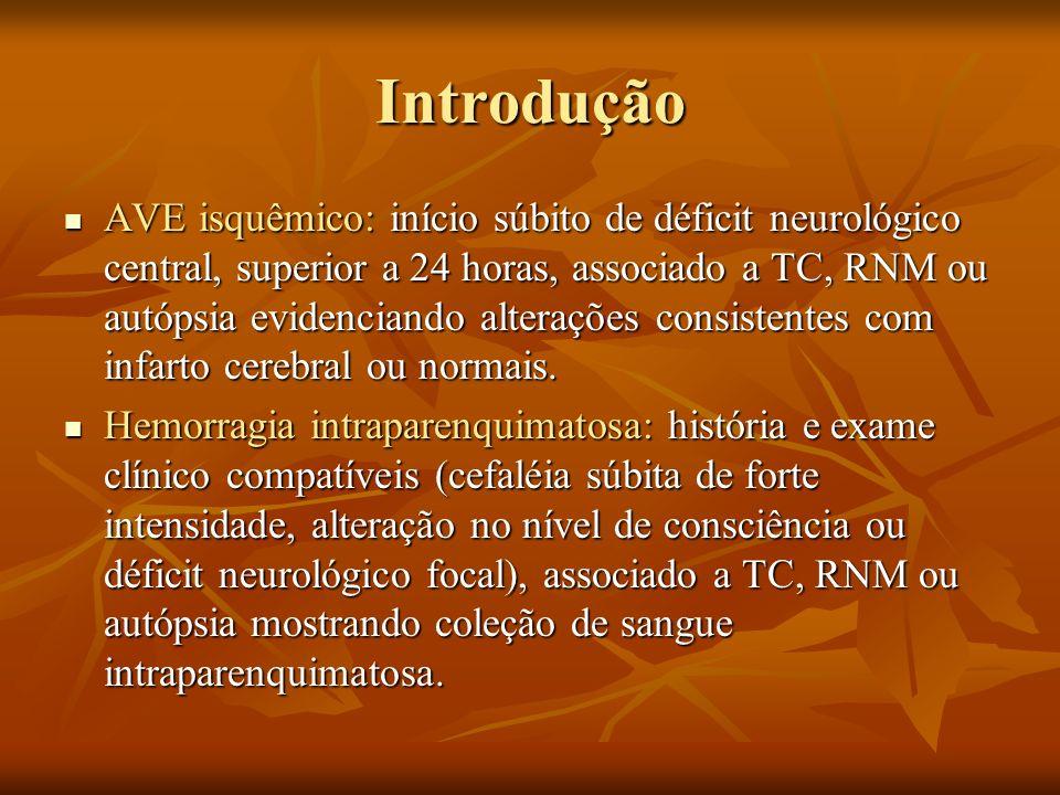 Introdução AVE isquêmico: início súbito de déficit neurológico central, superior a 24 horas, associado a TC, RNM ou autópsia evidenciando alterações c