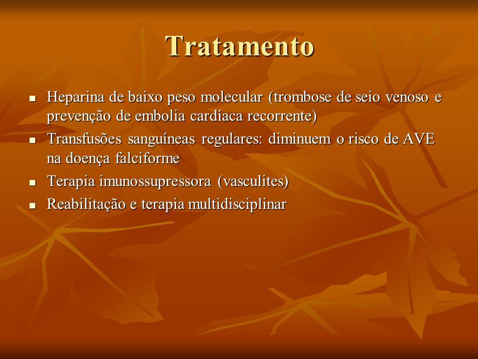 Tratamento Heparina de baixo peso molecular (trombose de seio venoso e prevenção de embolia cardíaca recorrente) Heparina de baixo peso molecular (tro
