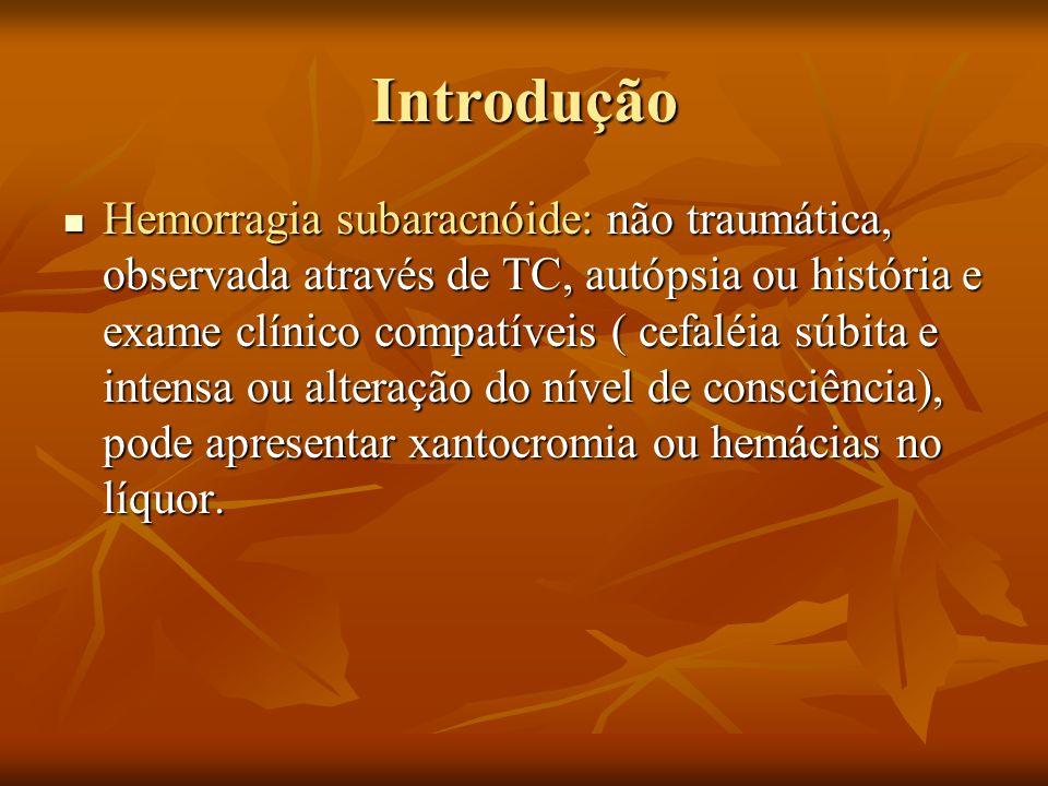 Introdução Hemorragia subaracnóide: não traumática, observada através de TC, autópsia ou história e exame clínico compatíveis ( cefaléia súbita e inte