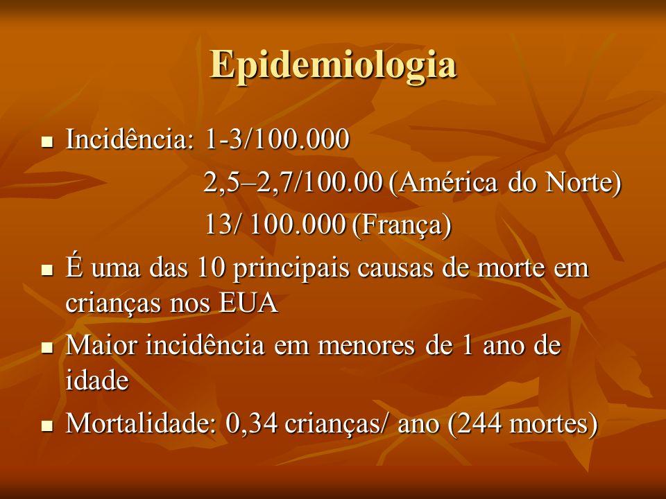 Epidemiologia Incidência: 1-3/100.000 Incidência: 1-3/100.000 2,5–2,7/100.00 (América do Norte) 2,5–2,7/100.00 (América do Norte) 13/ 100.000 (França)