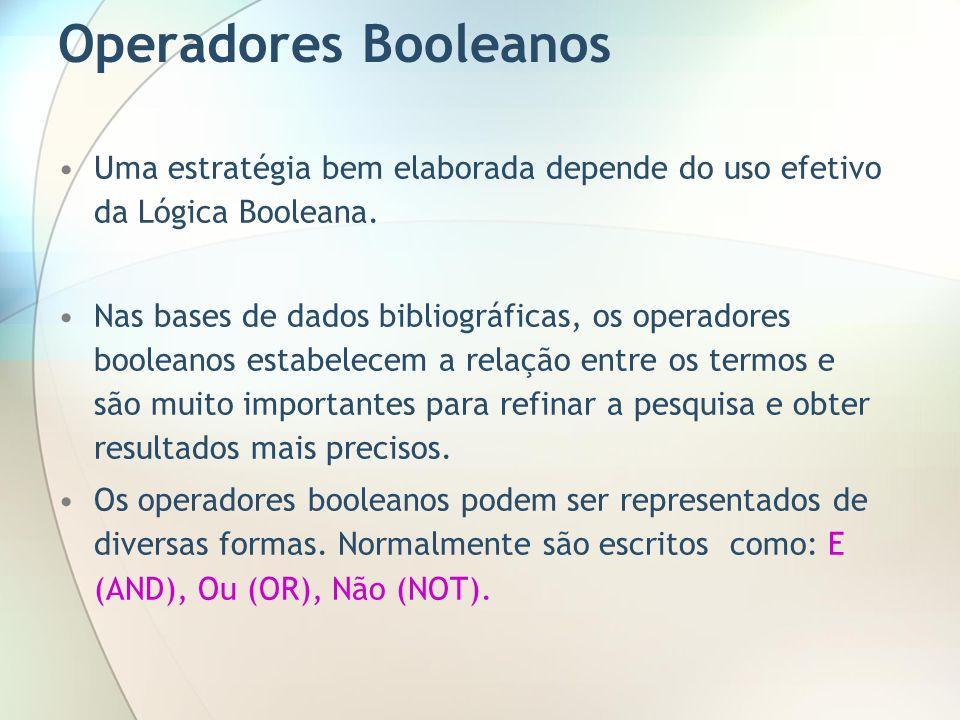 Operadores Booleanos Uma estratégia bem elaborada depende do uso efetivo da Lógica Booleana. Nas bases de dados bibliográficas, os operadores booleano