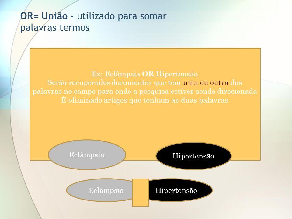 Ex:.Eclâmpsia OR Hipertensão Serão recuperados documentos que tem uma ou outra das palavras no campo para onde a pesquisa estiver sendo direcionada É