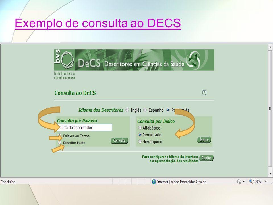 Exemplo de consulta ao DECS
