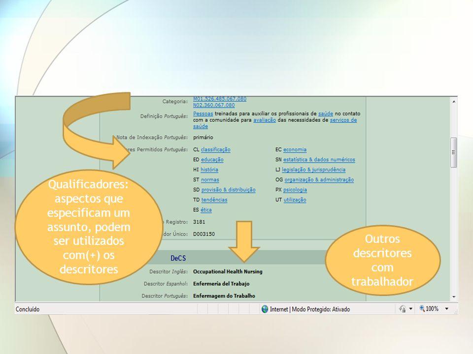 Qualificadores: aspectos que especificam um assunto, podem ser utilizados com(+) os descritores Outros descritores com trabalhador