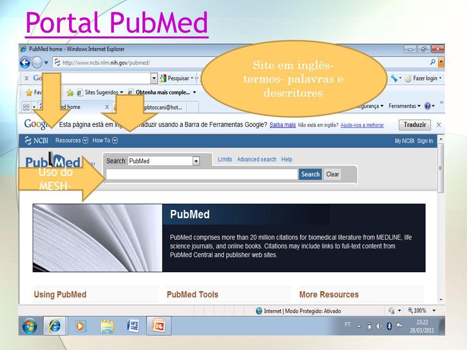 Uso do MESH- Site em inglês- termos- palavras e descritores Portal PubMed