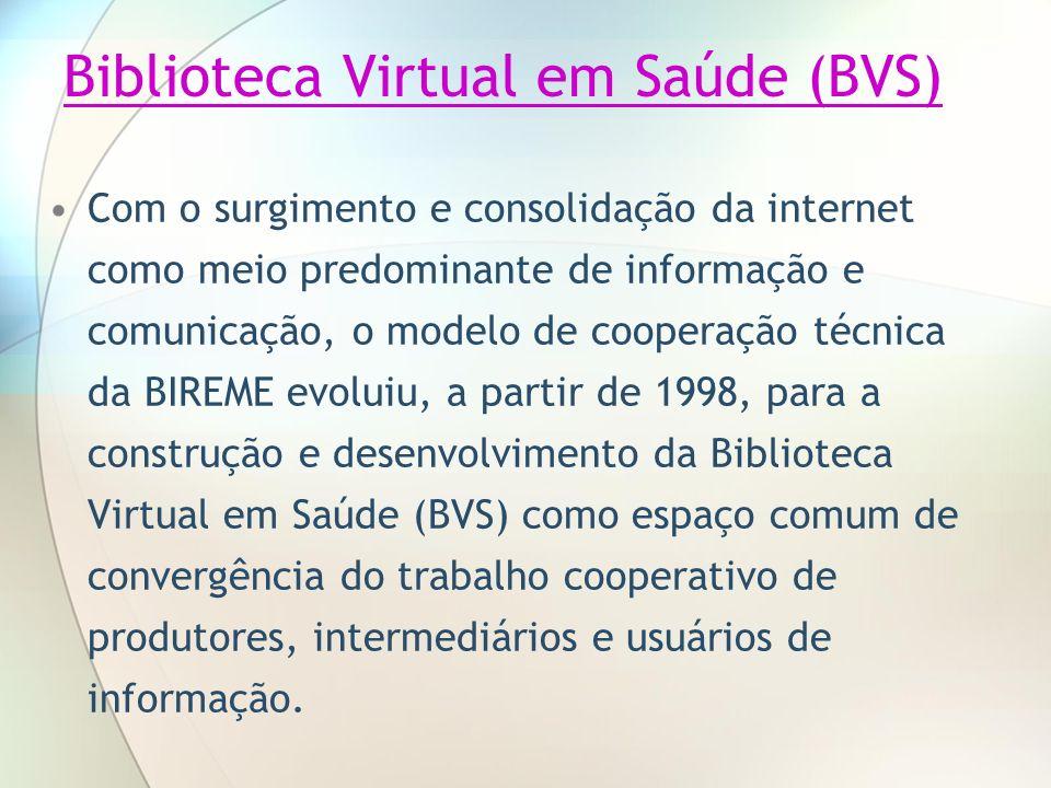 Biblioteca Virtual em Saúde (BVS) Com o surgimento e consolidação da internet como meio predominante de informação e comunicação, o modelo de cooperaç