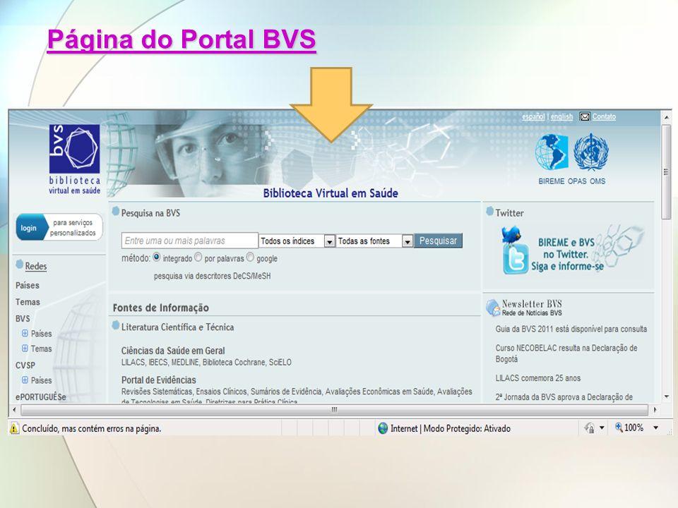 Página do Portal BVS Página do Portal BVS
