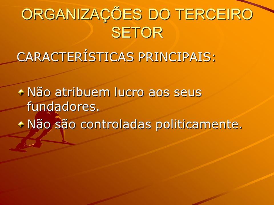 ORGANIZAÇÕES DO TERCEIRO SETOR CARACTERÍSTICAS PRINCIPAIS: Não atribuem lucro aos seus fundadores. Não são controladas politicamente.