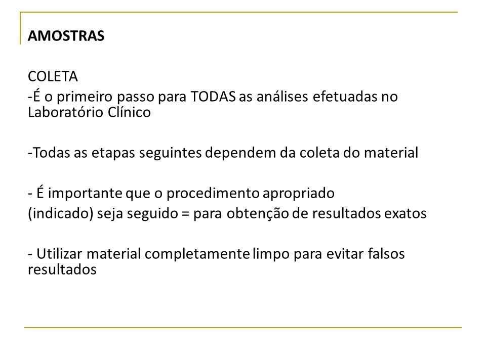 AMOSTRAS COLETA -É o primeiro passo para TODAS as análises efetuadas no Laboratório Clínico -Todas as etapas seguintes dependem da coleta do material