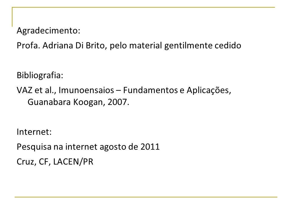 Agradecimento: Profa. Adriana Di Brito, pelo material gentilmente cedido Bibliografia: VAZ et al., Imunoensaios – Fundamentos e Aplicações, Guanabara