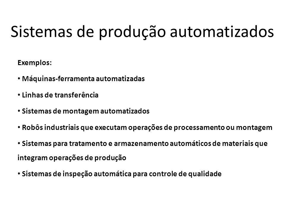Sistemas de produção automatizados Exemplos: Máquinas-ferramenta automatizadas Linhas de transferência Sistemas de montagem automatizados Robôs indust