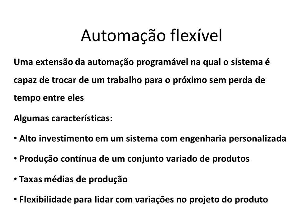 Automação flexível Uma extensão da automação programável na qual o sistema é capaz de trocar de um trabalho para o próximo sem perda de tempo entre el
