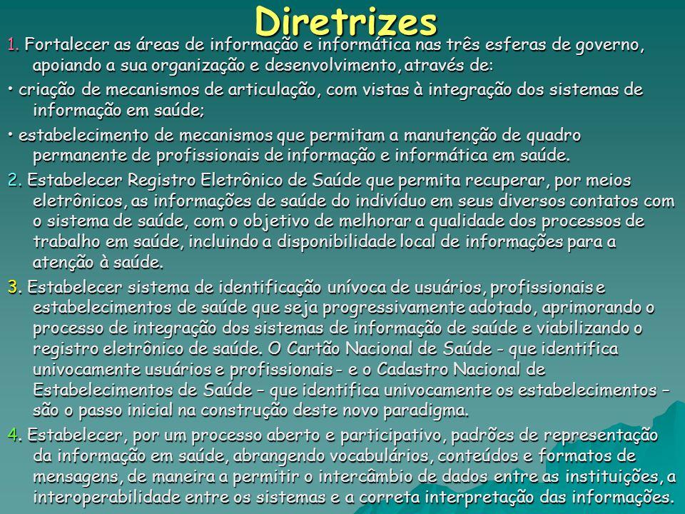 Diretrizes 1. Fortalecer as áreas de informação e informática nas três esferas de governo, apoiando a sua organização e desenvolvimento, através de: c