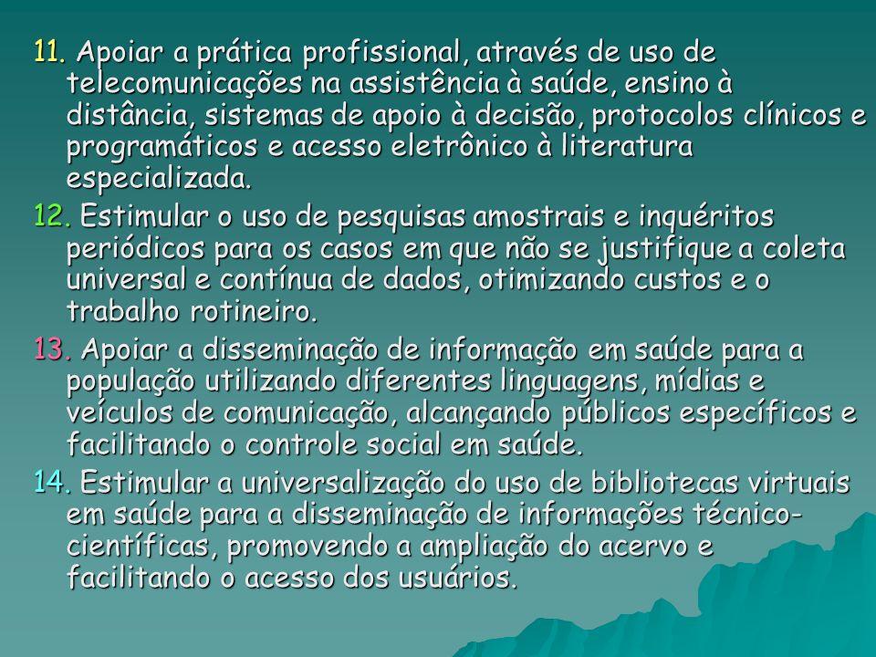 11. Apoiar a prática profissional, através de uso de telecomunicações na assistência à saúde, ensino à distância, sistemas de apoio à decisão, protoco