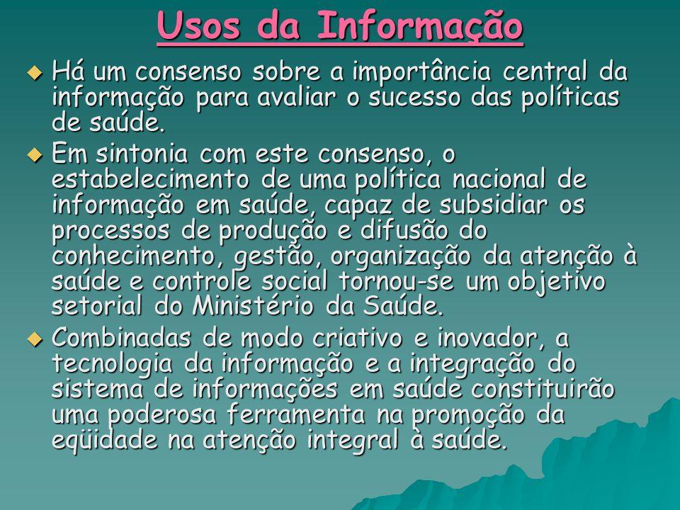 Usos da Informação Há um consenso sobre a importância central da informação para avaliar o sucesso das políticas de saúde. Há um consenso sobre a impo