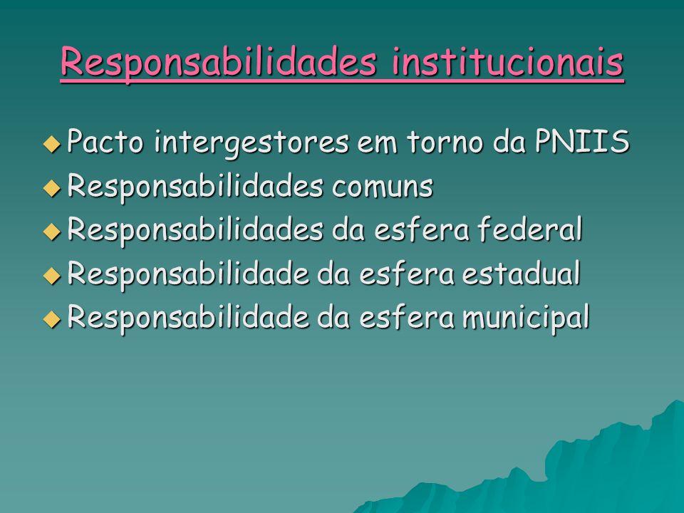 Responsabilidades institucionais Pacto intergestores em torno da PNIIS Pacto intergestores em torno da PNIIS Responsabilidades comuns Responsabilidade