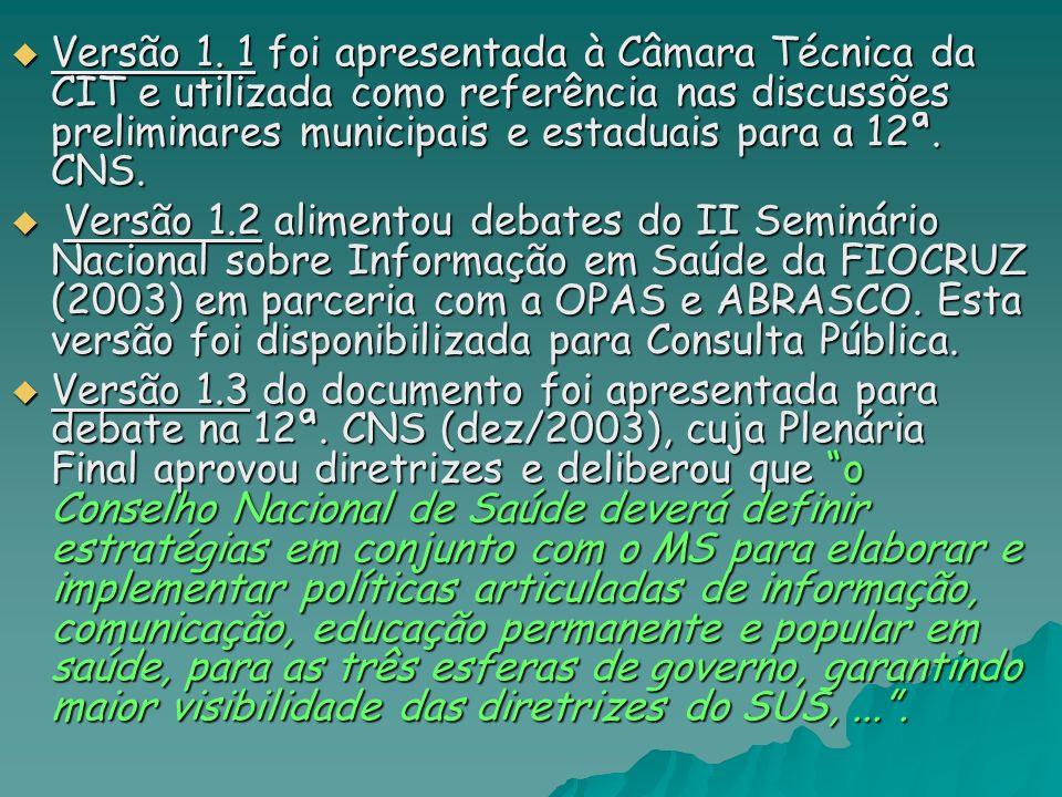 Versão 1. 1 foi apresentada à Câmara Técnica da CIT e utilizada como referência nas discussões preliminares municipais e estaduais para a 12ª. CNS. Ve