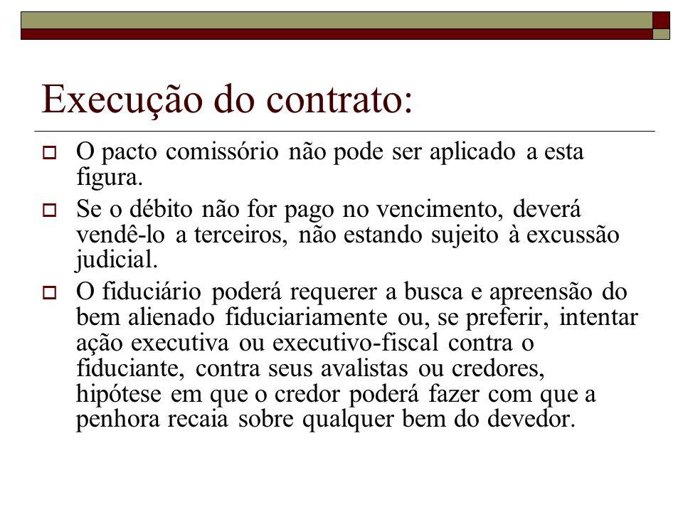 Execução do contrato: O pacto comissório não pode ser aplicado a esta figura. Se o débito não for pago no vencimento, deverá vendê-lo a terceiros, não