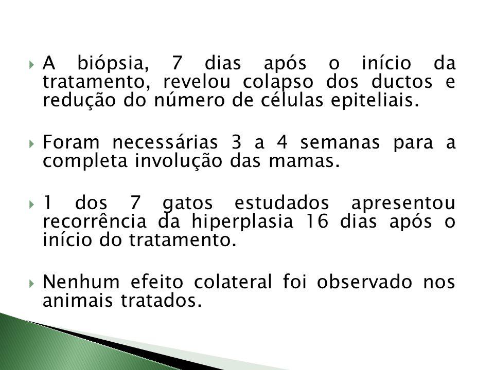 A biópsia, 7 dias após o início da tratamento, revelou colapso dos ductos e redução do número de células epiteliais. Foram necessárias 3 a 4 semanas p