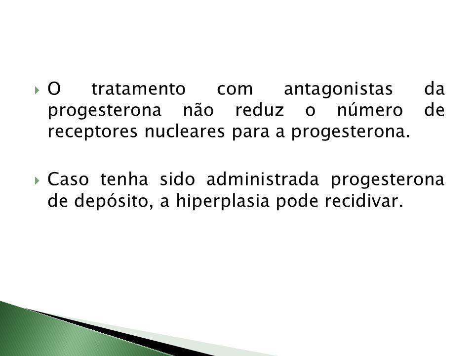 O tratamento com antagonistas da progesterona não reduz o número de receptores nucleares para a progesterona. Caso tenha sido administrada progesteron