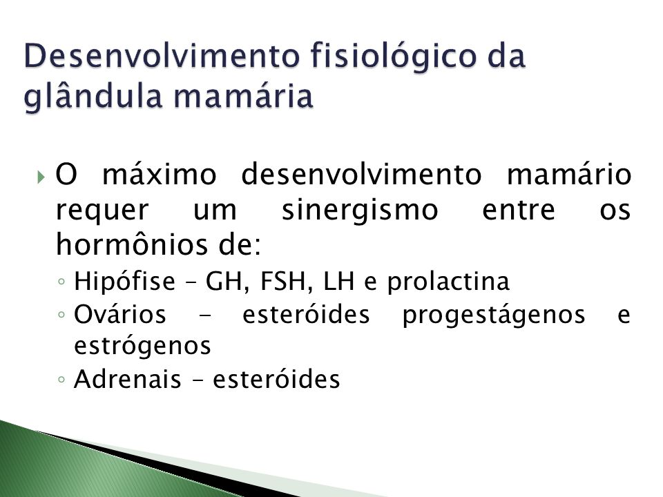 O máximo desenvolvimento mamário requer um sinergismo entre os hormônios de: Hipófise – GH, FSH, LH e prolactina Ovários - esteróides progestágenos e