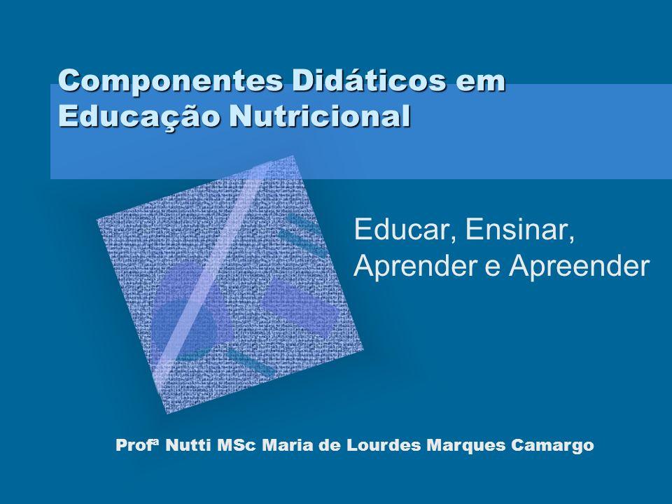 Componentes Didáticos em Educação Nutricional Educar, Ensinar, Aprender e Apreender Profª Nutti MSc Maria de Lourdes Marques Camargo