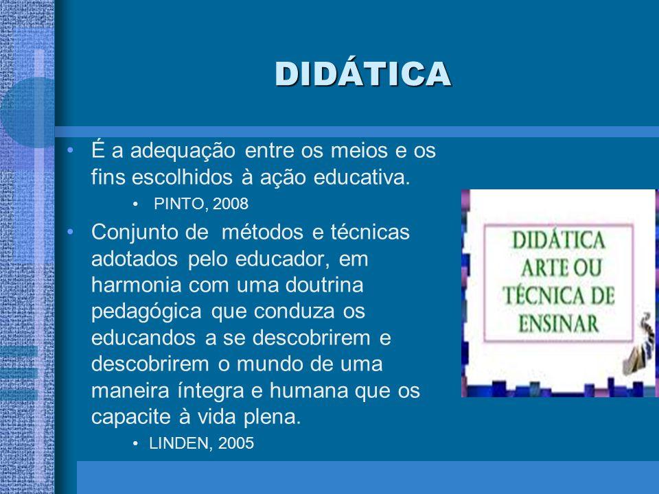 DIDÁTICA É a adequação entre os meios e os fins escolhidos à ação educativa. PINTO, 2008 Conjunto de métodos e técnicas adotados pelo educador, em har