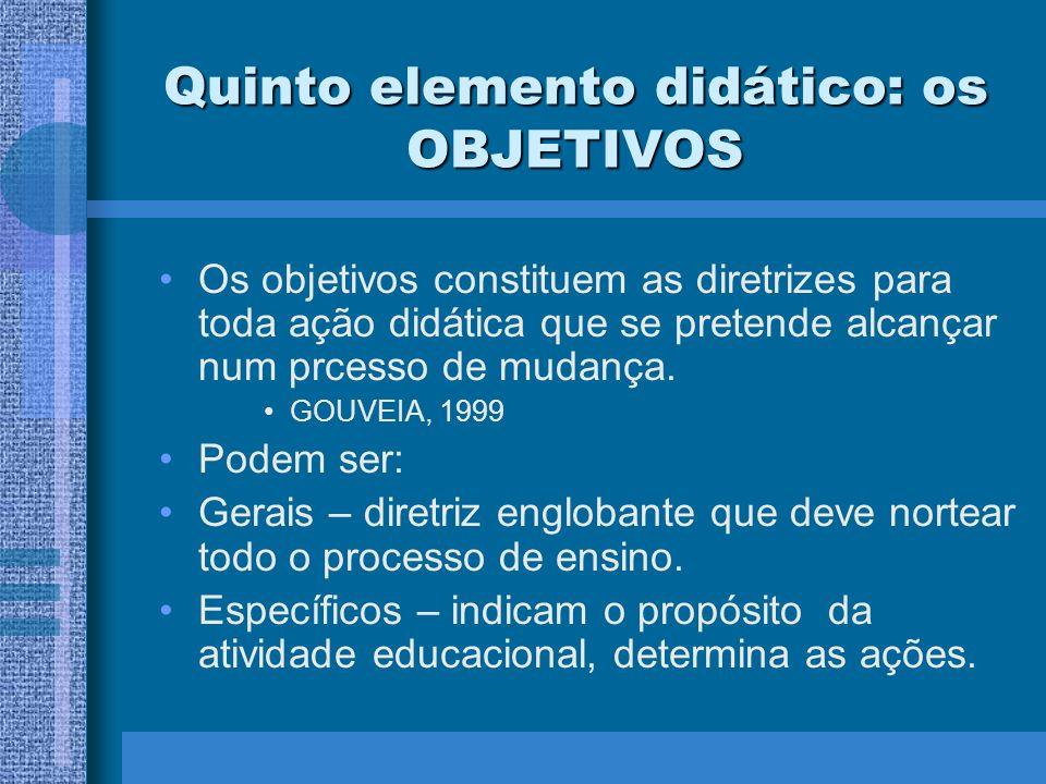 Quinto elemento didático: os OBJETIVOS Os objetivos constituem as diretrizes para toda ação didática que se pretende alcançar num prcesso de mudança.