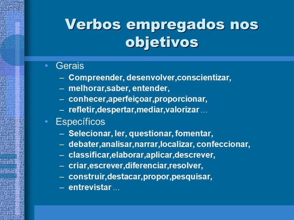 Verbos empregados nos objetivos Gerais –Compreender, desenvolver,conscientizar, –melhorar,saber, entender, –conhecer,aperfeiçoar,proporcionar, –reflet