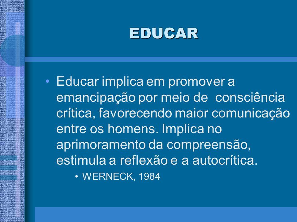 EDUCAR Educar implica em promover a emancipação por meio de consciência crítica, favorecendo maior comunicação entre os homens. Implica no aprimoramen