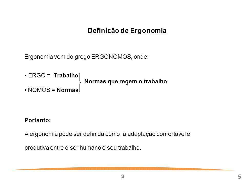 3 5 Definição de Ergonomia Portanto: A ergonomia pode ser definida como a adaptação confortável e produtiva entre o ser humano e seu trabalho.