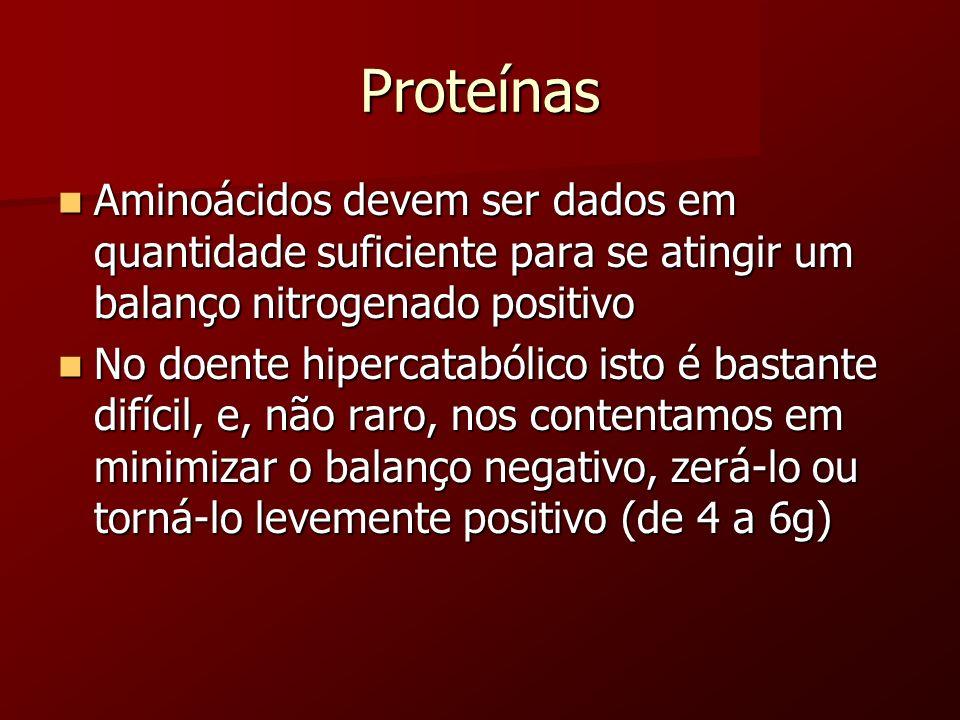 Proteínas Aminoácidos devem ser dados em quantidade suficiente para se atingir um balanço nitrogenado positivo Aminoácidos devem ser dados em quantida