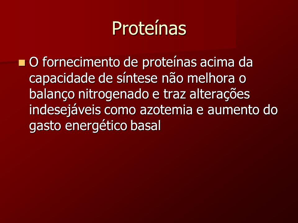 Proteínas O fornecimento de proteínas acima da capacidade de síntese não melhora o balanço nitrogenado e traz alterações indesejáveis como azotemia e