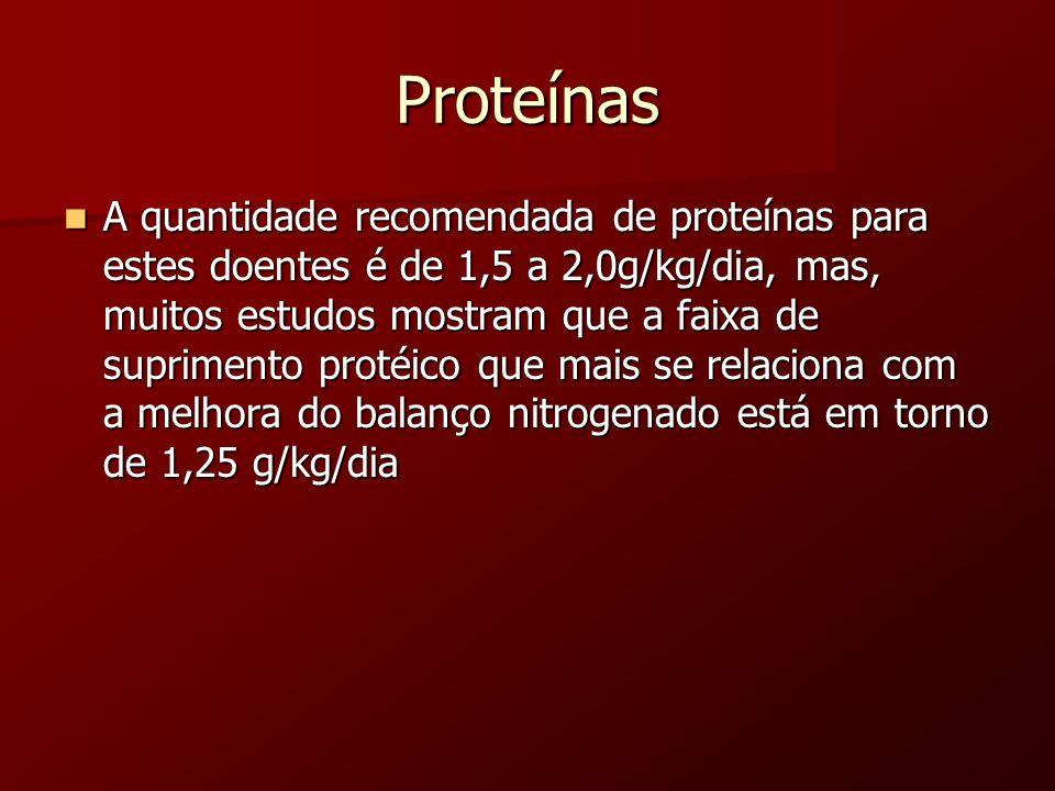 Proteínas A quantidade recomendada de proteínas para estes doentes é de 1,5 a 2,0g/kg/dia, mas, muitos estudos mostram que a faixa de suprimento proté